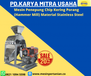 Mesin Penepung Chip Kering Porang With Cyclone (Hammer Mill With Cyclone) Material Stainless Steel